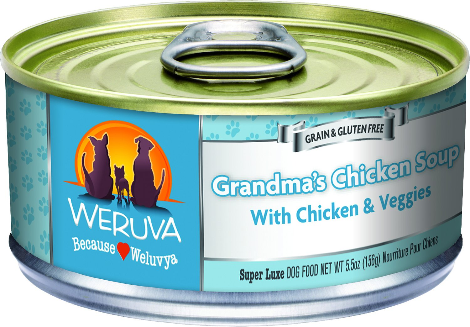 Weruva Dog Classic Grandma's Chicken Soup with Chicken& Veggies Grain-Free Wet Dog Food, 5.5-oz