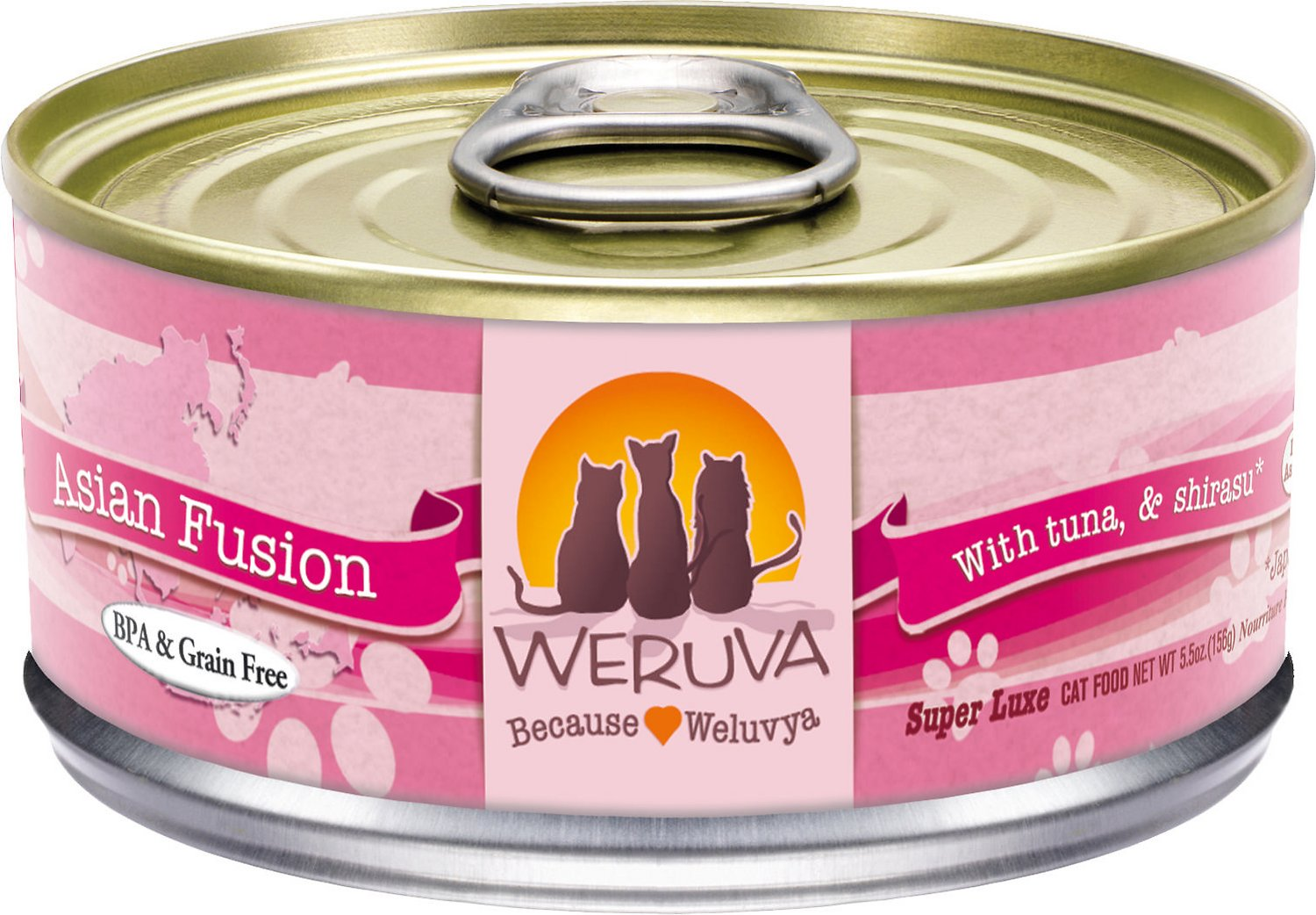 Weruva Cat Classic Asian Fusion with Tuna & Shirasu Grain-Free Wet Cat Food, 3-oz
