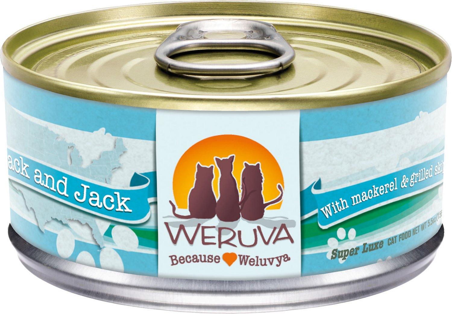 Weruva Cat Classic Mack and Jack with Mackerel & Grilled Skipjack Grain-Free Wet Cat Food, 5.5-oz