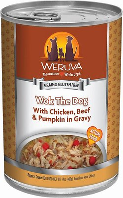Weruva Dog Classic Wok the Dog with Chicken, Beef & Pumpkin in Gravy Grain-Free Wet Dog Food, 14-oz, case of 12