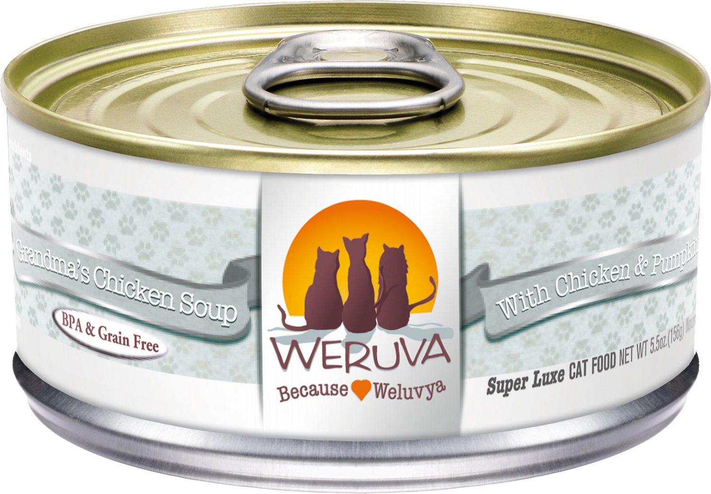 Weruva Cat Classic Grandma's Chicken Soup with Chicken & Pumpkin Grain-Free Wet Cat Food, 5.5-oz