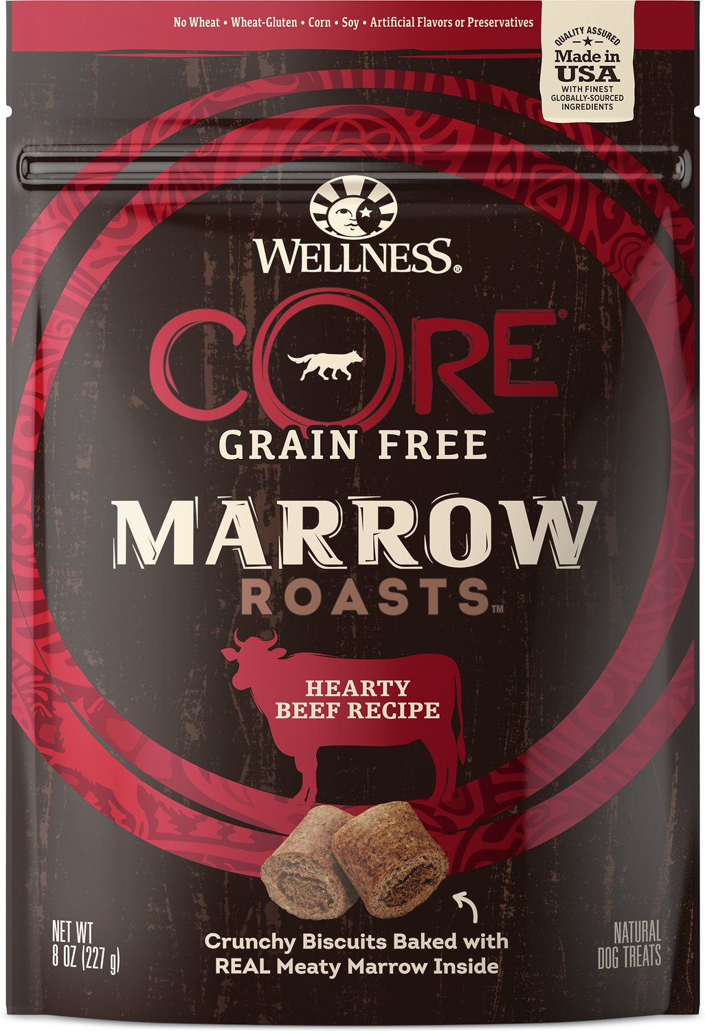 Wellness CORE Grain-Free Marrow Roasts Hearty Beef Recipe Dog Treats, 8-oz bag