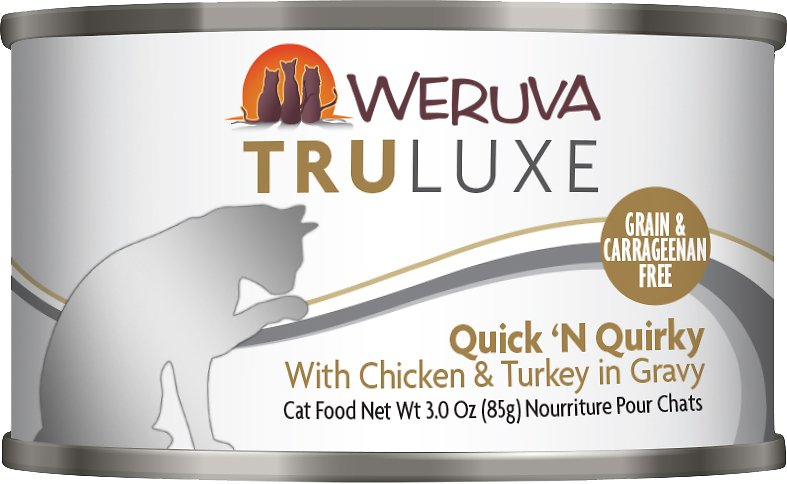 Weruva Cat Truluxe Quick 'N Quirky with Chicken & Turkey in Gravy Grain-Free Wet Cat Food, 6-oz