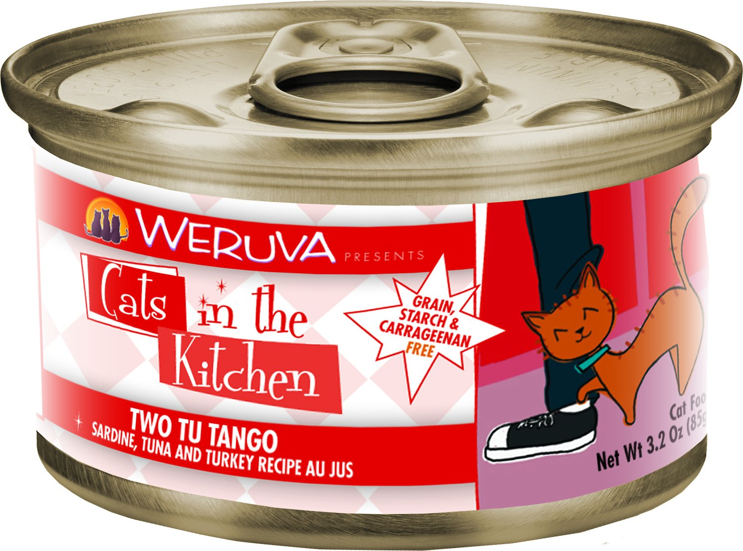 Weruva Cats in the Kitchen Two Tu Tango Sardine, Tuna & Turkey Au Jus Grain-Free Wet Cat Food, 6-oz