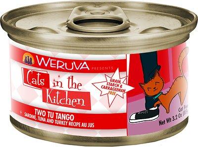 Weruva Cats in the Kitchen Two Tu Tango Sardine, Tuna & Turkey Au Jus Grain-Free Wet Cat Food, 3.2-oz, case of 24