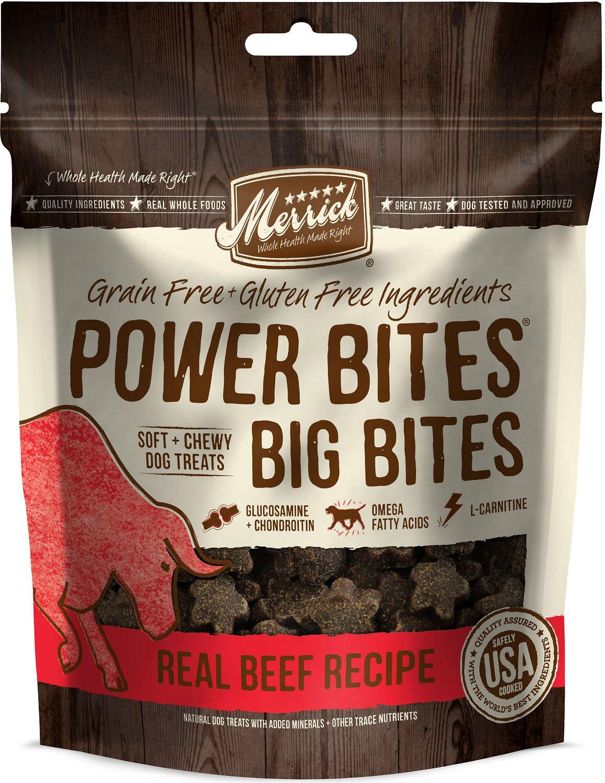 Merrick Power Bites Big Bites Real Beef Recipe Grain-Free Soft & Chewy Dog Treats, 6-oz bag