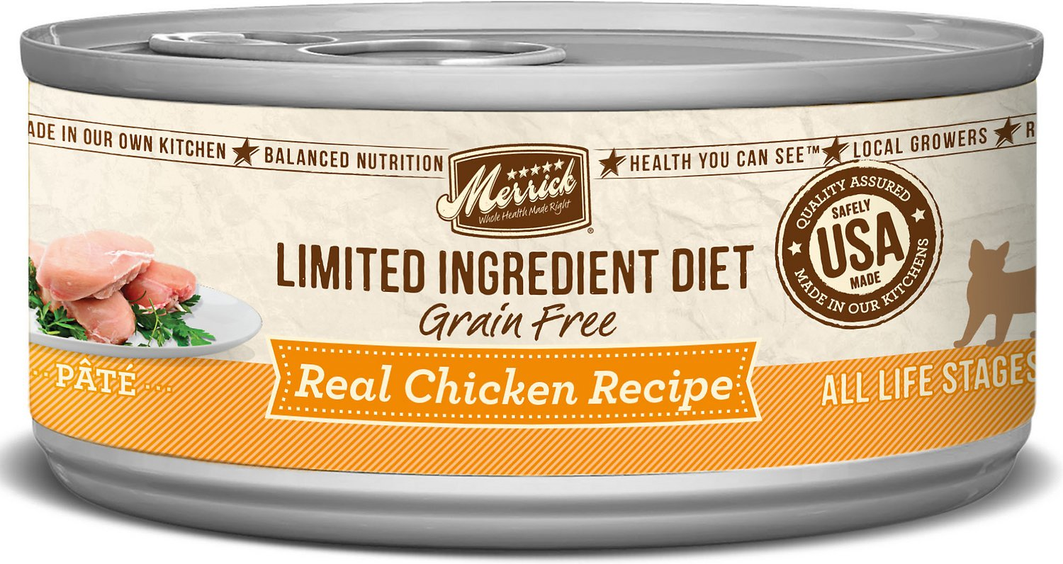 Merrick Limited Ingredient Diet Grain-Free Real Chicken Pate Recipe Canned Cat Food, 5-oz