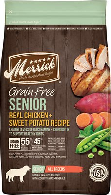 Merrick Real Chicken & Sweet Potato Recipe Grain Free Senior Dry Dog Food, 25-lb bag
