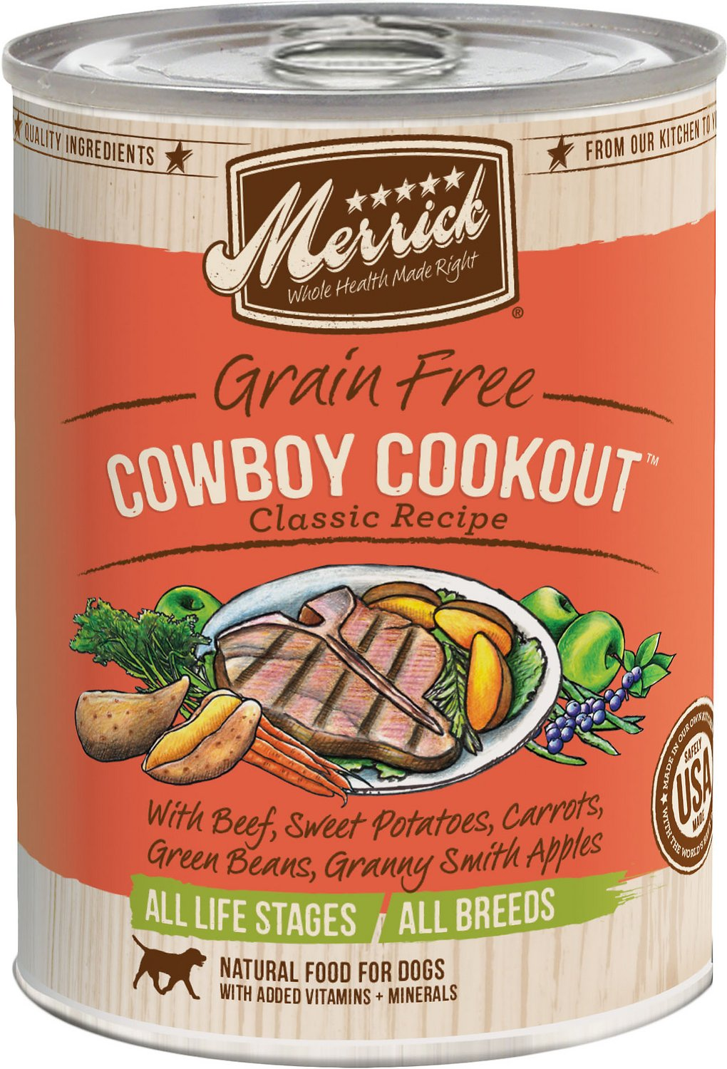Merrick Grain-Free Cowboy Cookout Canned Dog Food, 12.7-oz
