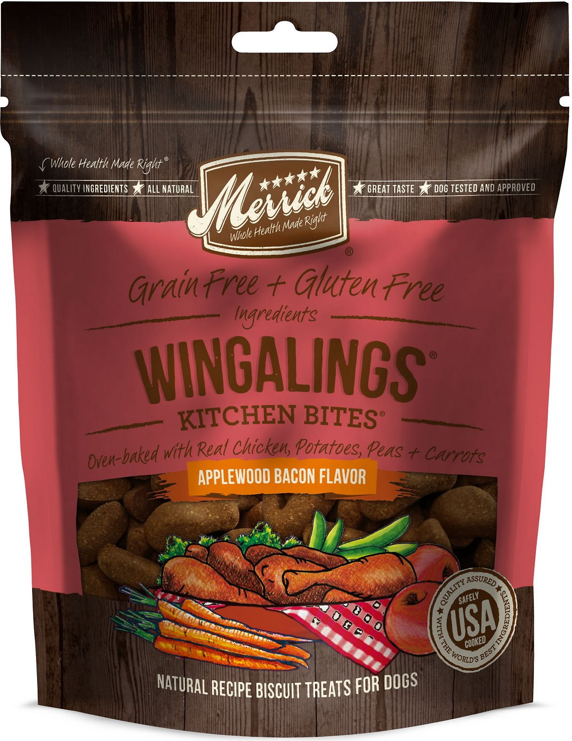 Merrick Kitchen Bites Wingalings Applewood Bacon Flavor Grain-Free Biscuits Dog Treats, 9-oz bag