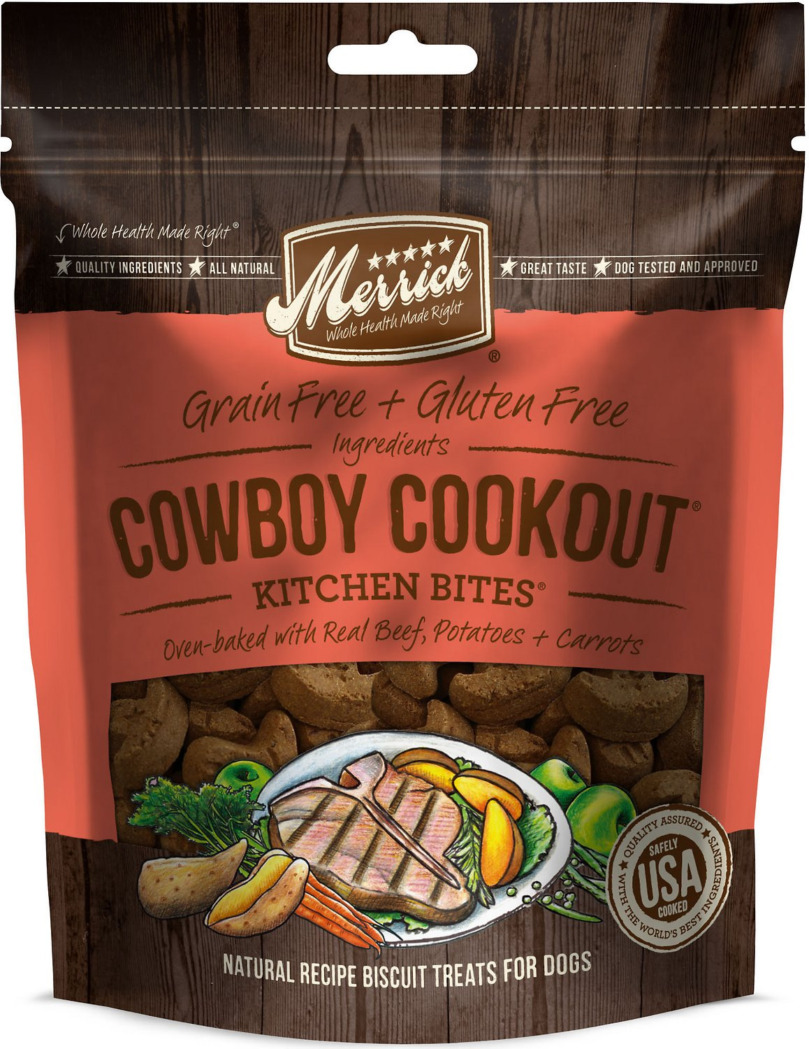 Merrick Kitchen Bites Cowboy Cookout Grain-Free Biscuits Dog Treats, 9-oz bag