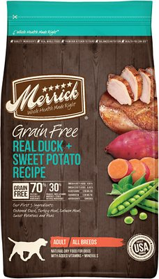 Merrick Grain-Free Real Duck + Sweet Potato Recipe Dry Dog Food, 4-lb bag (original)