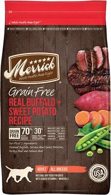 Merrick Grain-Free Real Buffalo + Sweet Potato Recipe Dry Dog Food, 22-lb