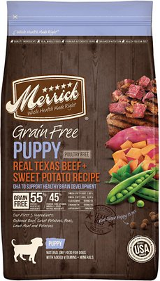 Merrick Real Beef & Sweet Potato Recipe Grain-Free Puppy Dry Dog Food, 4-lb bag Size: 4-lb bag, Weights: 4.0 pounds