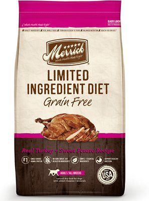 Merrick Limited Ingredient Diet Grain-Free Real Turkey + Sweet Potato Recipe Dry Dog Food, 4-lb bag