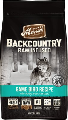 Merrick Backcountry Raw Infused Game Bird Recipe with Turkey, Duck & Quail Grain-Free Dry Dog Food, 4-lb bag