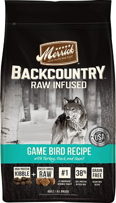 Merrick Backcountry Raw Infused Game Bird Recipe with Turkey, Duck & Quail Grain-Free Dry Dog Food, 22-lb bag