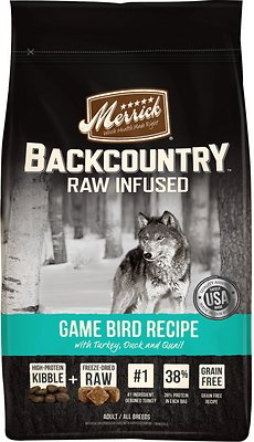 Merrick Backcountry Raw Infused Game Bird Recipe with Turkey, Duck & Quail Grain-Free Dry Dog Food, 12-lb bag Size: 12-lb bag, Weights: 12.0 pounds