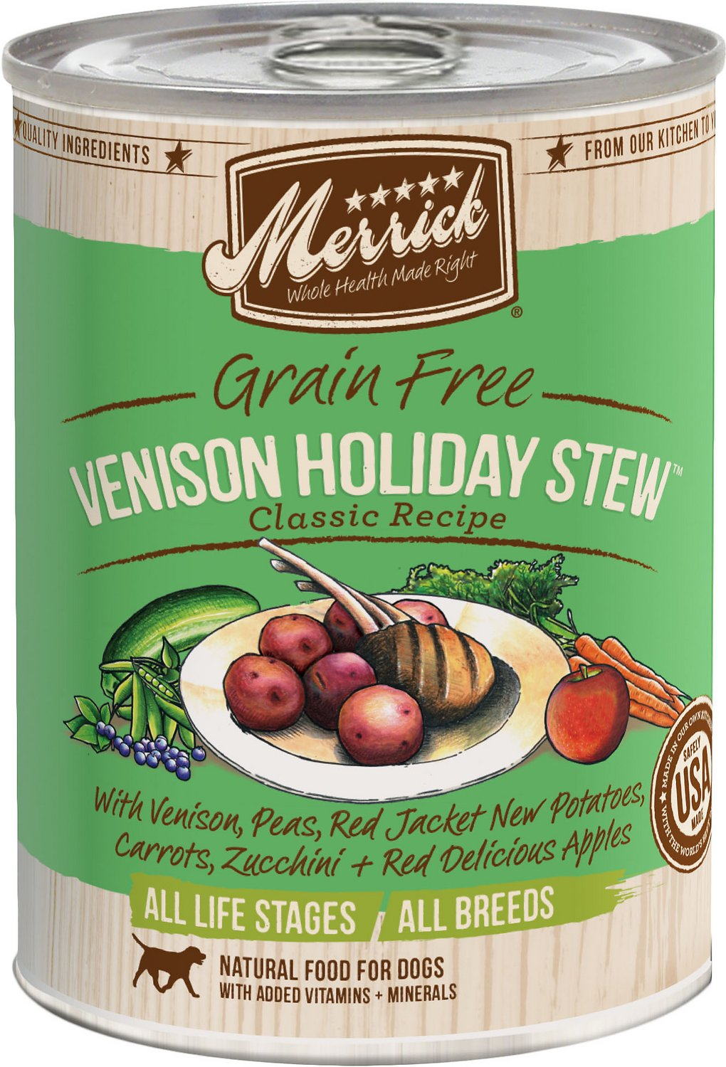 Merrick Grain-Free Venison Holiday Stew Canned Dog Food, 13.2-oz