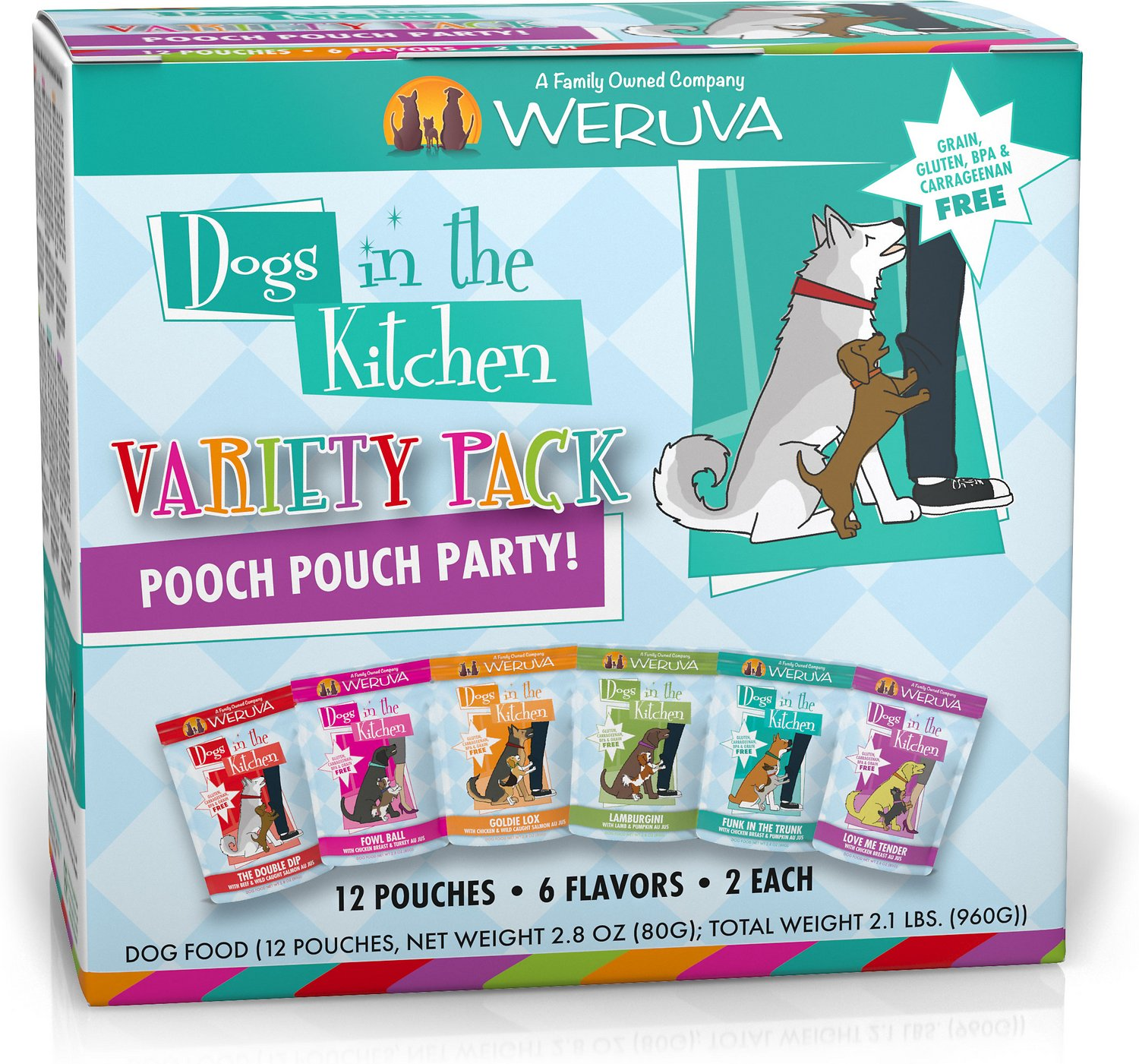 Weruva Dogs in the Kitchen Pooch Pouch Party! Variety Pack Grain-Free Dog Food Pouches, 2.8-oz, pack of 12