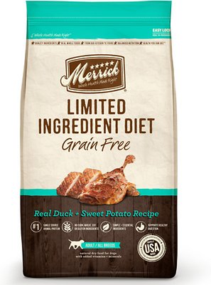 Merrick Limited Ingredient Diet Grain-Free Real Duck + Sweet Potato Recipe Dry Dog Food, 22-lb bag Weights: 22.0 pounds, Size: 22-lb bag