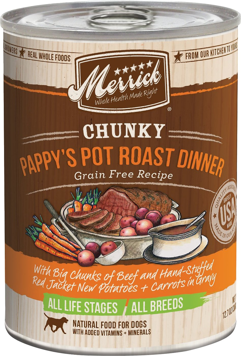 Merrick Chunky Grain-Free Pappy's Pot Roast Dinner Canned Dog Food, 12.7-oz