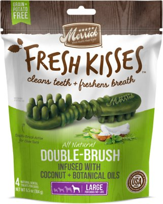Merrick Fresh Kisses Double-Brush Coconut Oil & Botanicals Large Grain-Free Dental Dog Treats