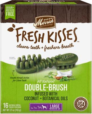 Merrick Fresh Kisses Double-Brush Coconut Oil & Botanicals Large Grain-Free Dental Dog Treats, 16 count
