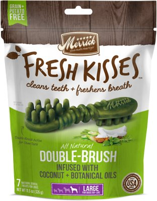 Merrick Fresh Kisses Double-Brush Coconut Oil & Botanicals Large Grain-Free Dental Dog Treats, 7 count