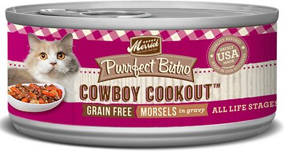 Merrick Purrfect Bistro Grain-Free Cowboy Cookout Morsels in Gravy Canned Cat Food