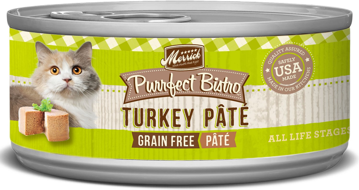 Merrick Purrfect Bistro Grain-Free Turkey Pate Canned Cat Food, 3-oz