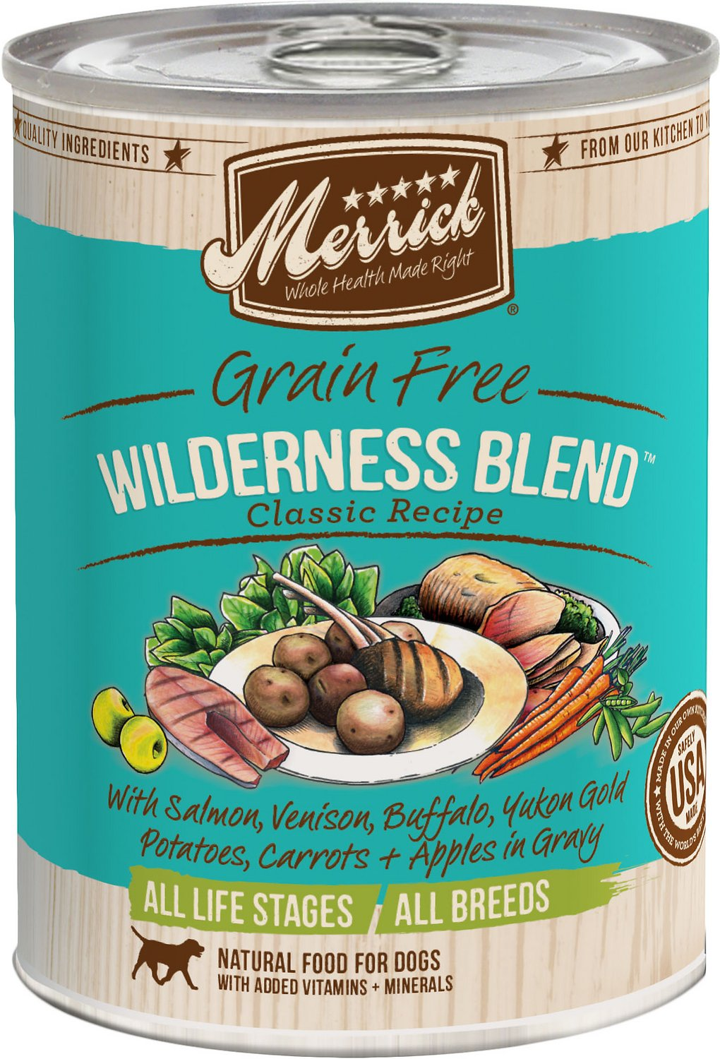 Merrick Grain-Free Wilderness Blend Canned Dog Food, 13.2-oz
