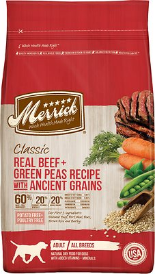 Merrick Classic Real Beef + Green Peas Recipe with Ancient Grains Adult Dry Dog Food, 12-lb bag