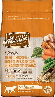 Merrick Classic Real Chicken + Green Peas Recipe with Ancient Grains Adult Dry Dog Food, 4-lb bag