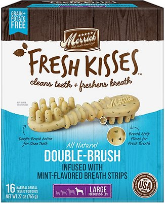 Merrick Fresh Kisses Double-Brush Mint Breath Strips Large Grain-Free Dental Dog Treats
