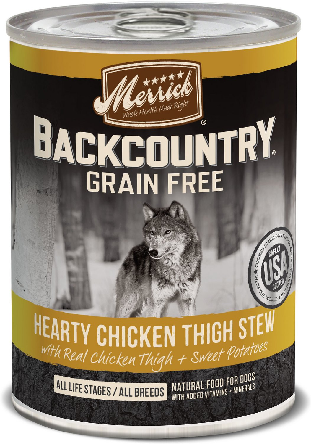 Merrick Backcountry Grain-Free Hearty Chicken Thigh Stew Canned Dog Food, 12.7-oz