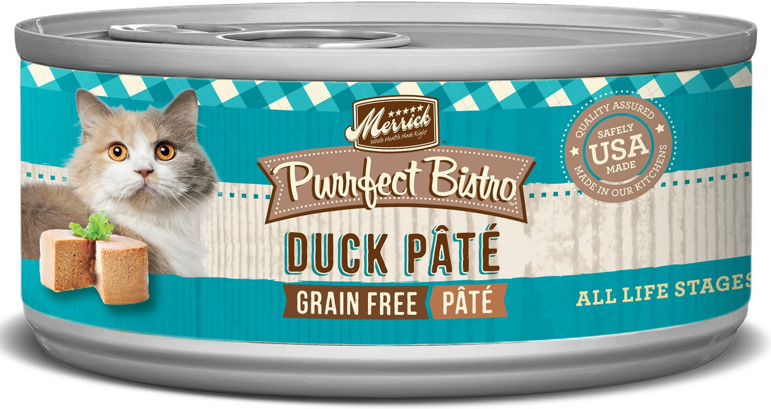 Merrick Purrfect Bistro Grain-Free Duck Pate Canned Cat Food, 3-oz