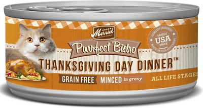 Merrick Purrfect Bistro Grain-Free Thanksgiving Day Dinner Minced in Gravy Canned Cat Food