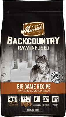 Merrick Backcountry Raw Infused Big Game Recipe with Lamb, Buffalo & Venison Grain-Free Dry Dog Food, 4-lb bag