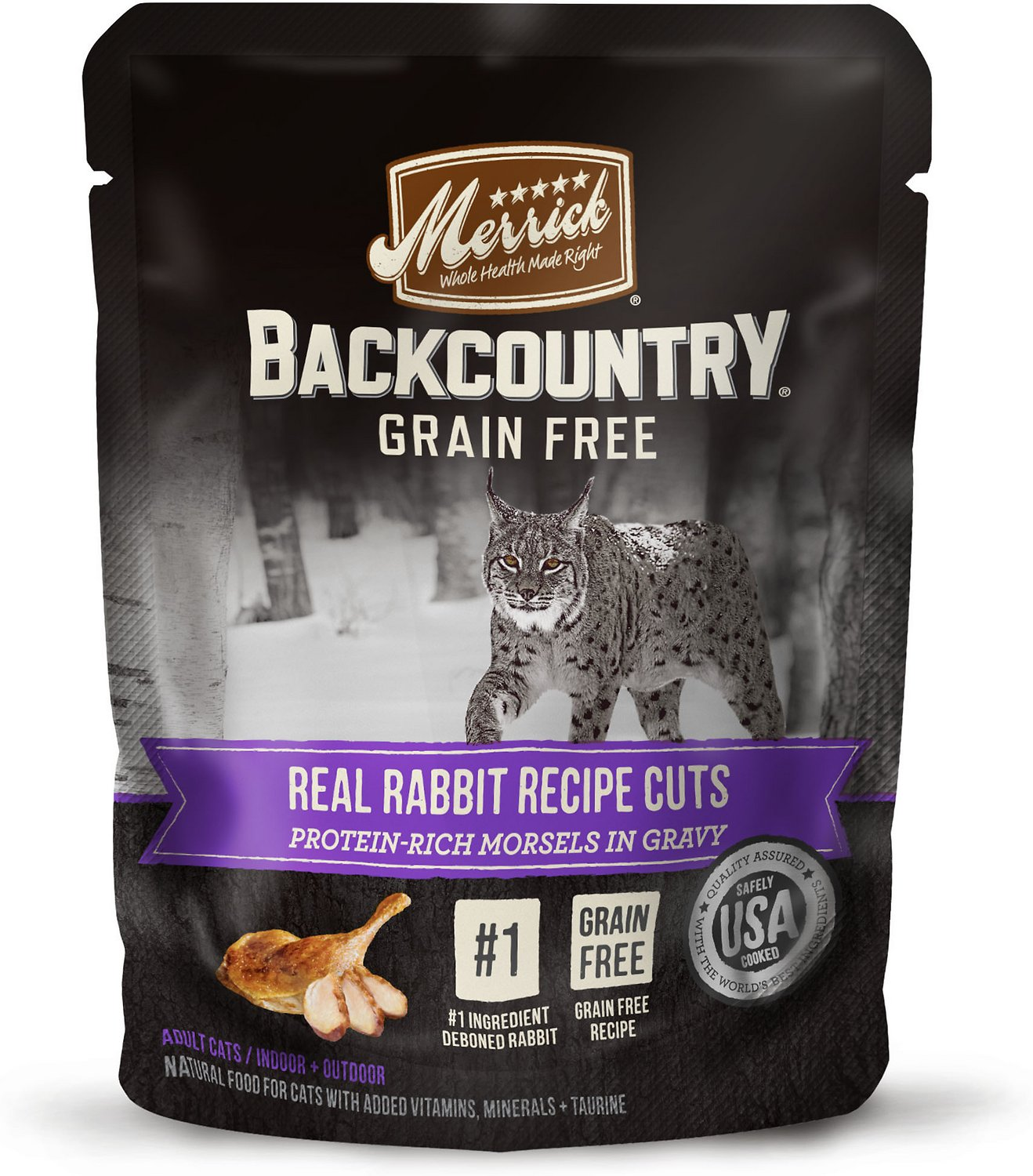 Merrick Backcountry Grain-Free Morsels in Gravy Real Rabbit Recipe Cuts Cat Food Pouches, 3-oz