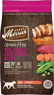 Merrick Grain-Free Real Turkey + Sweet Potato Recipe Dry Dog Food, 4-lb bag (original)