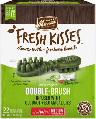 Merrick Fresh Kisses Double-Brush Coconut Oil & Botanicals Medium Grain-Free Dental Dog Treats, 22 count