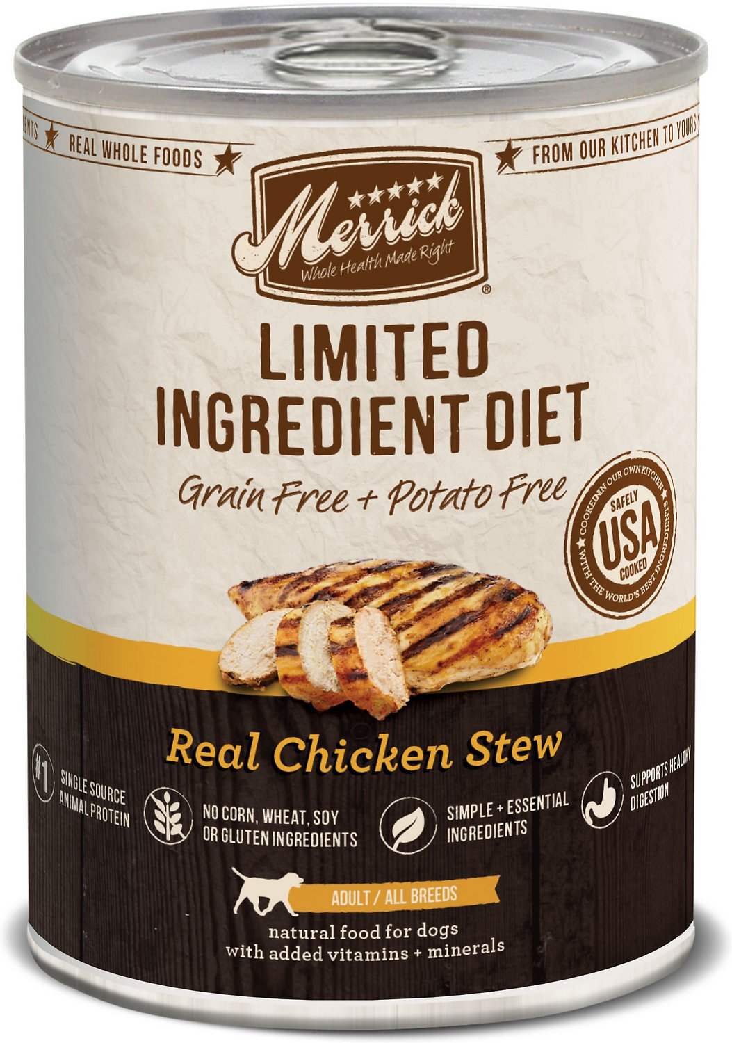 Merrick Limited Ingredient Diet Grain-Free Real Chicken Stew Canned Dog Food, 12.7-oz