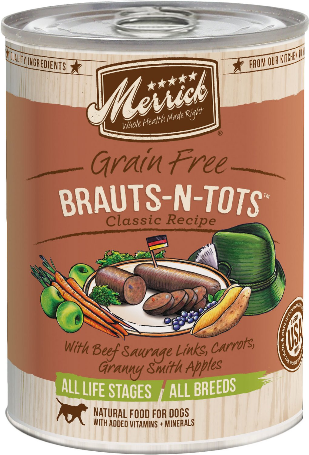Merrick Grain-Free Brauts-n-Tots Canned Dog Food, 13.2-oz