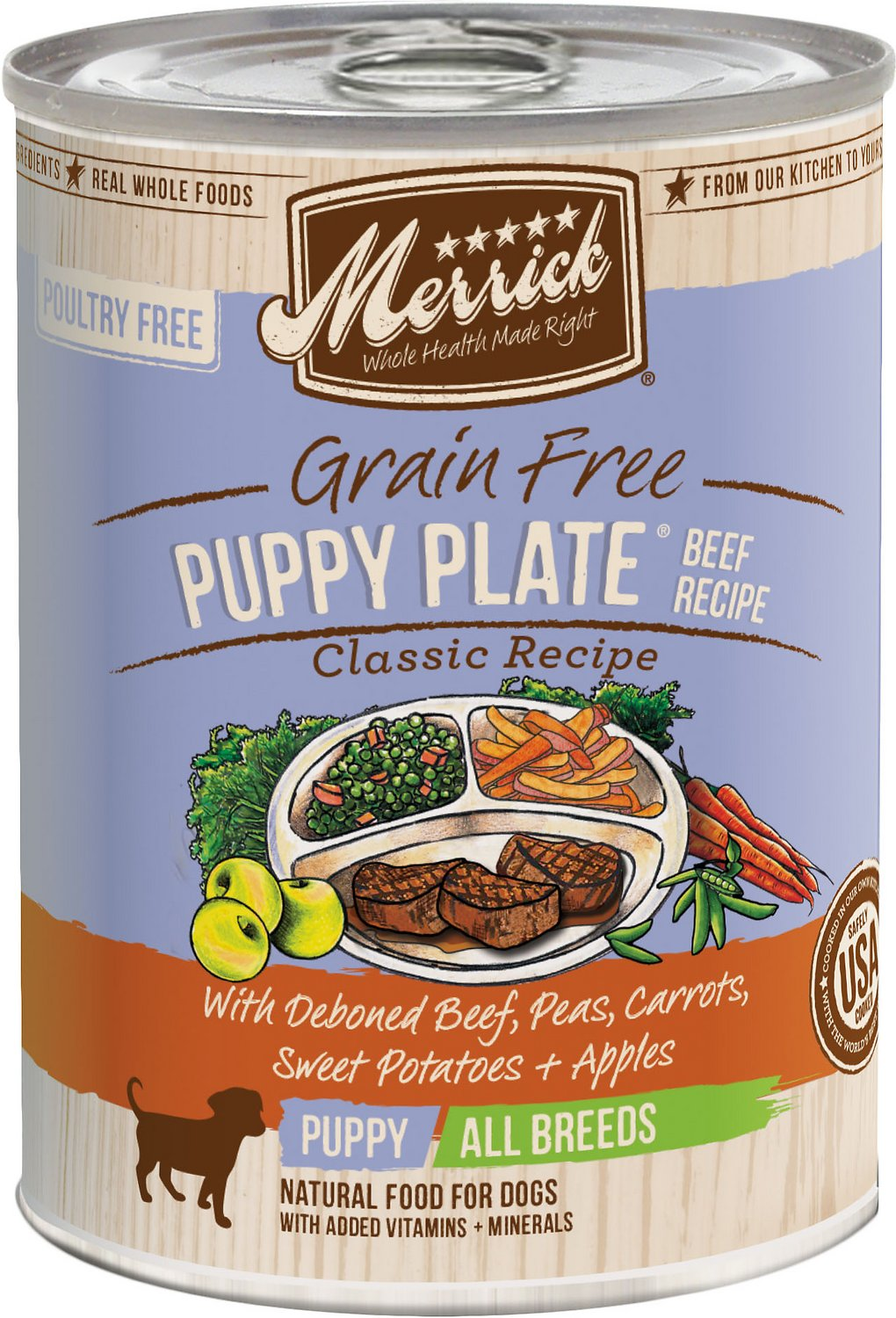 Merrick Grain-Free Puppy Plate Beef Recipe Canned Dog Food, 13.2-oz