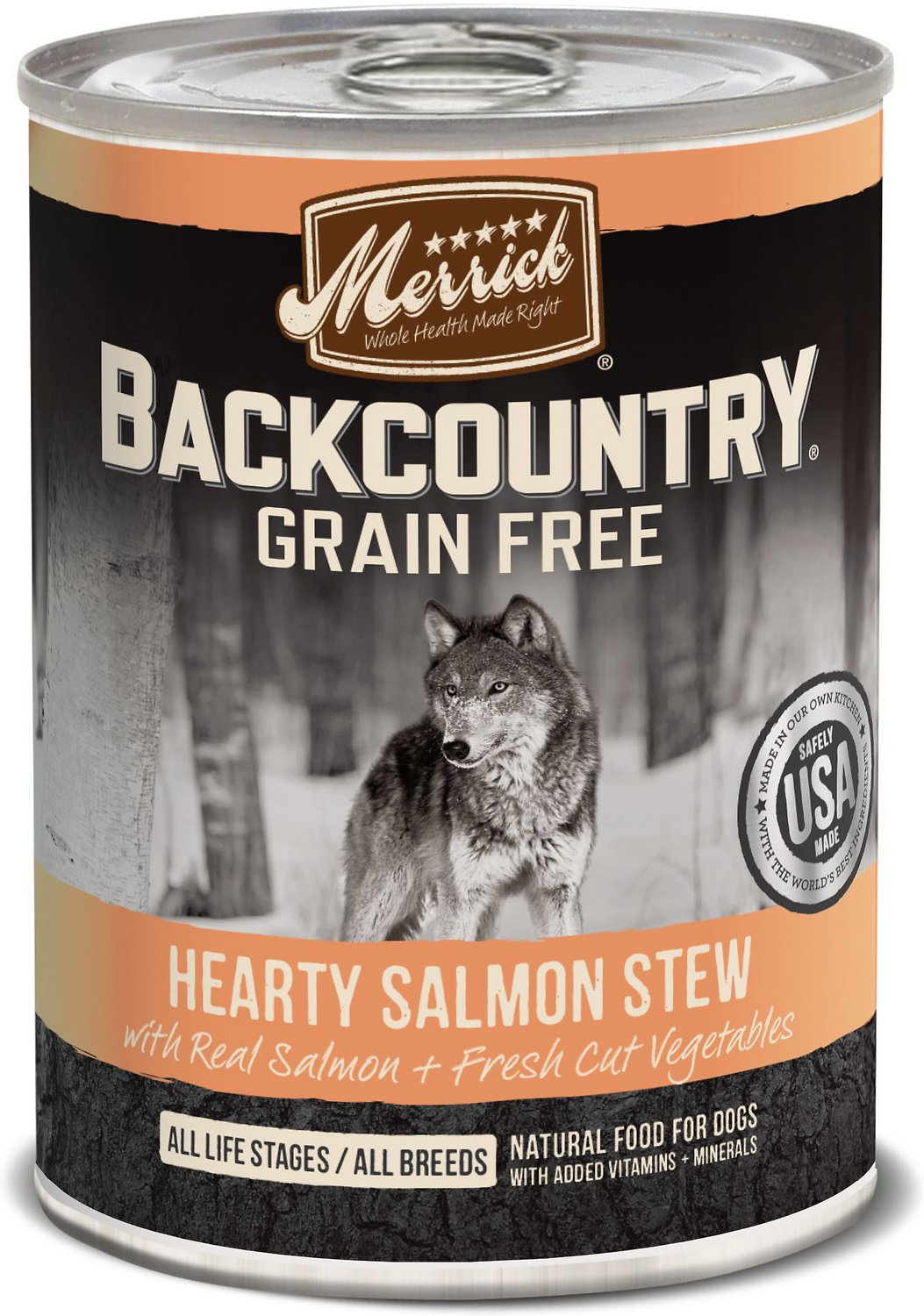 Merrick Backcountry Grain-Free Hearty Salmon Stew Canned Dog Food, 12.7-oz