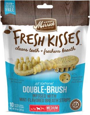 Merrick Fresh Kisses Double-Brush Mint Breath Strips Medium Grain-Free Dental Dog Treats, 10 count