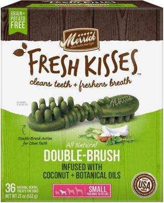 Merrick Fresh Kisses Double-Brush Coconut Oil & Botanicals Small Grain-Free Dental Dog Treats, 36 count