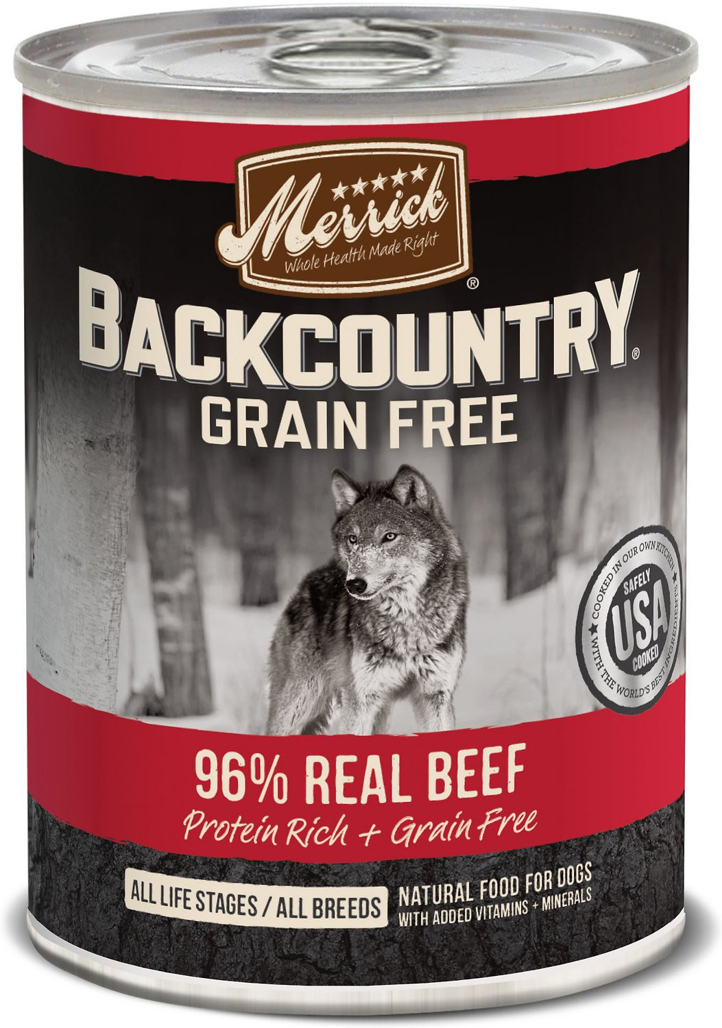 Merrick Backcountry Grain-Free 96% Real Beef Recipe Canned Dog Food, 12.7-oz