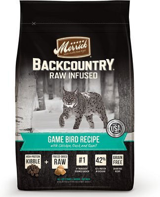 Merrick Backcountry Raw Infused Game Bird Recipe with Chicken, Duck & Quail Grain-Free Dry Cat Food, 6-lb bag